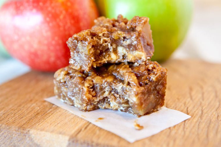 Stacked Caramel Apple Bars with bites taken out of bars
