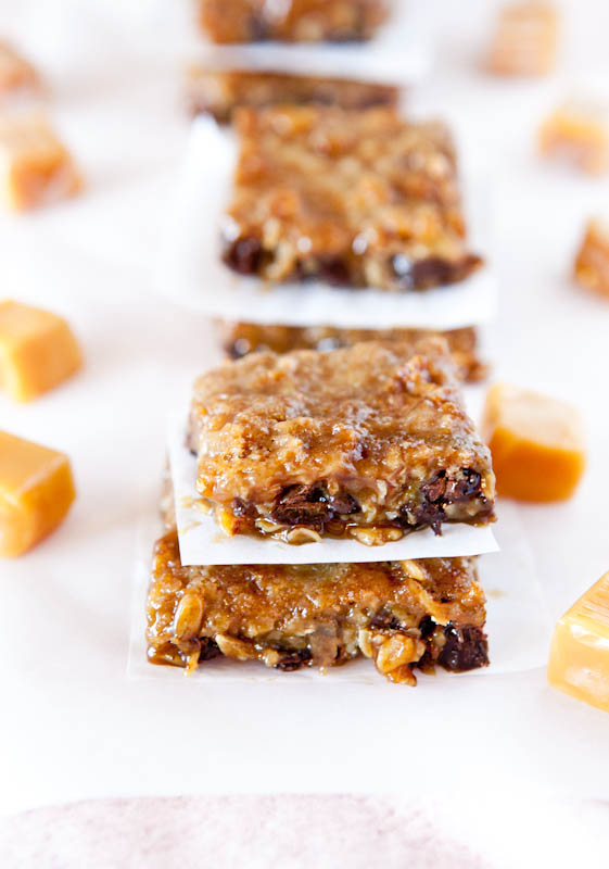 Rows of stacked Caramel and Chocolate Gooey Bars