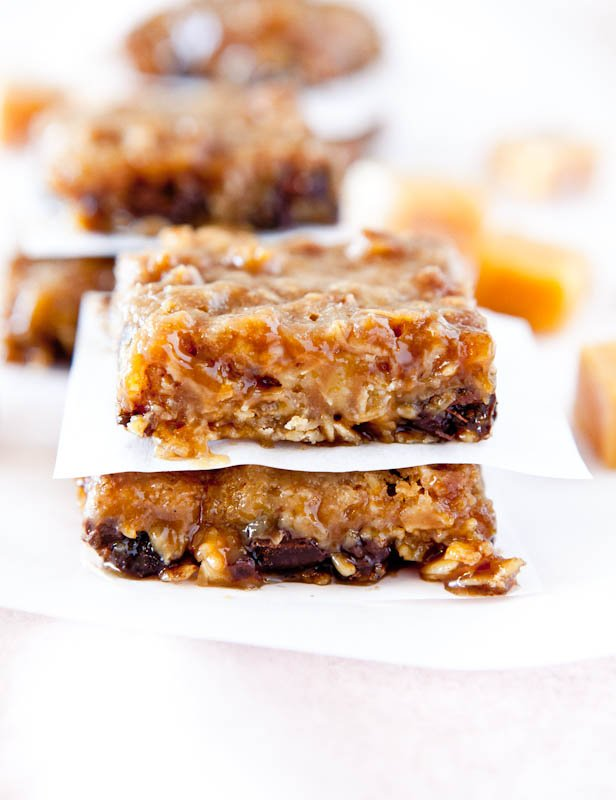 Close up of two stacked Caramel and Chocolate Gooey Bars