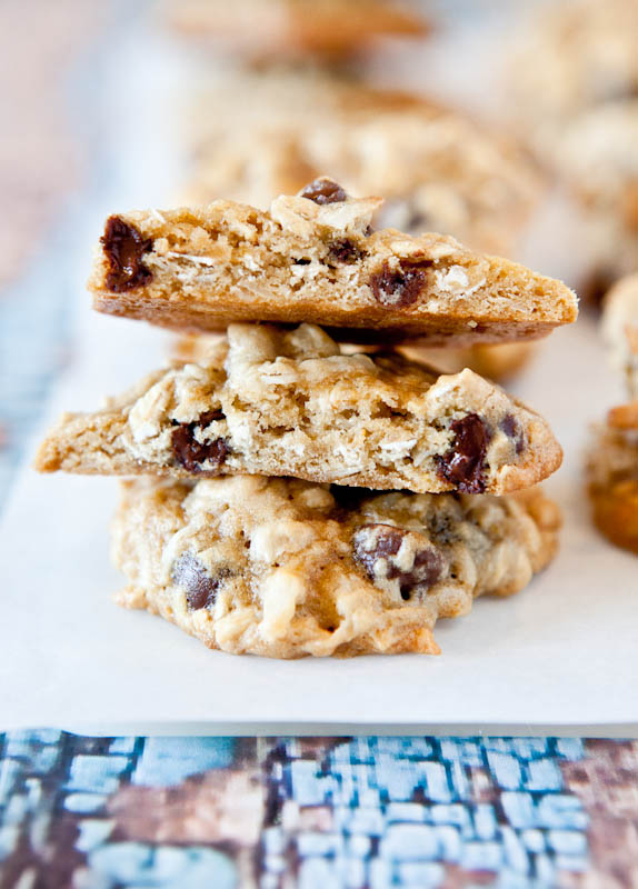 Coconut Oatmeal Toffee Cookie split in half showing center
