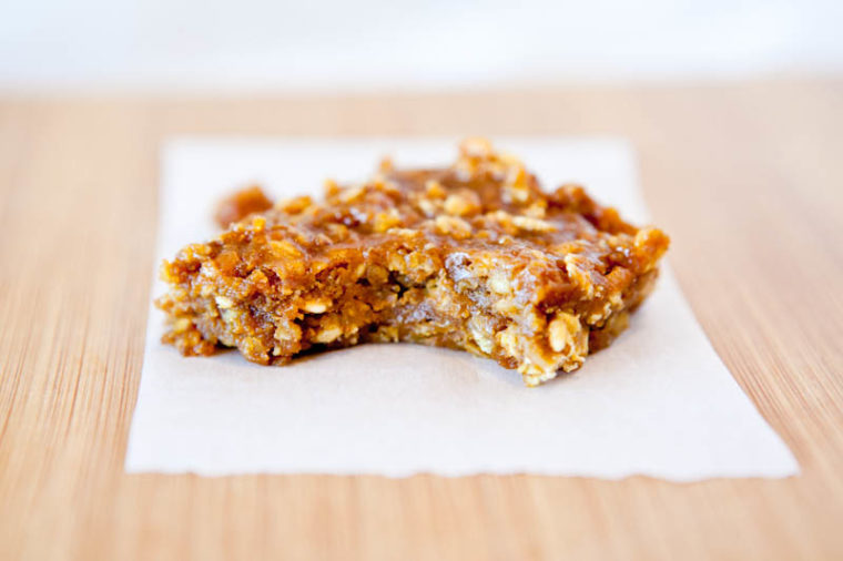 One Pumpkin Peanut Butter Oatmeal Bar with bite taken out