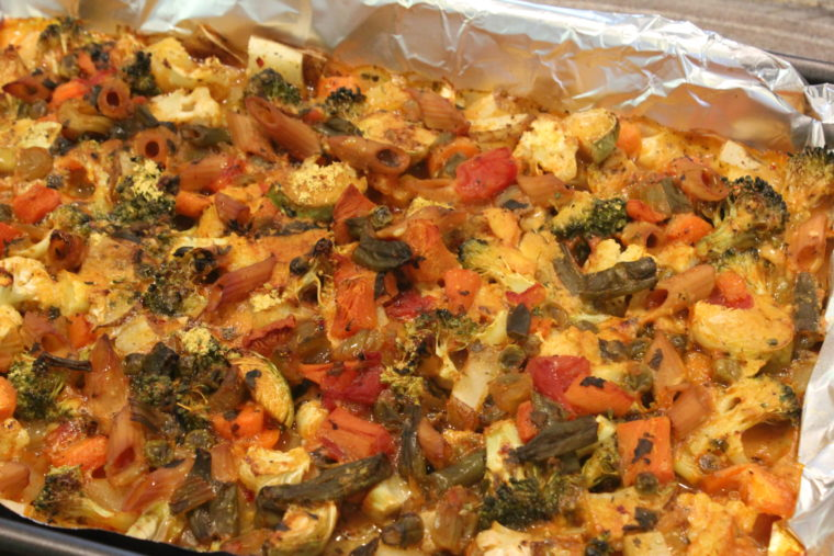 Cheezy Vegetable Bake in foil lined pan