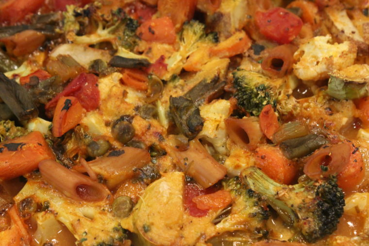 Close up of Cheezy Vegetable Bake
