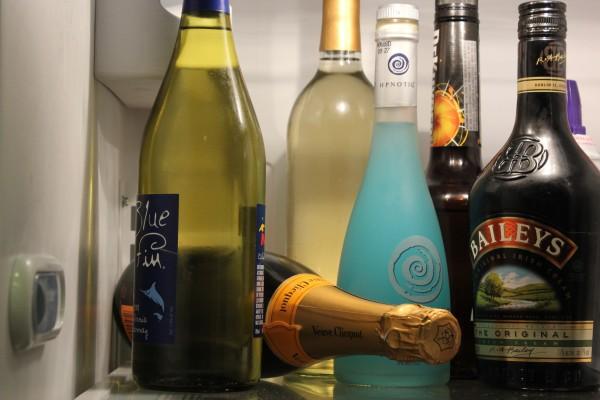 Wine bottles in cupboard