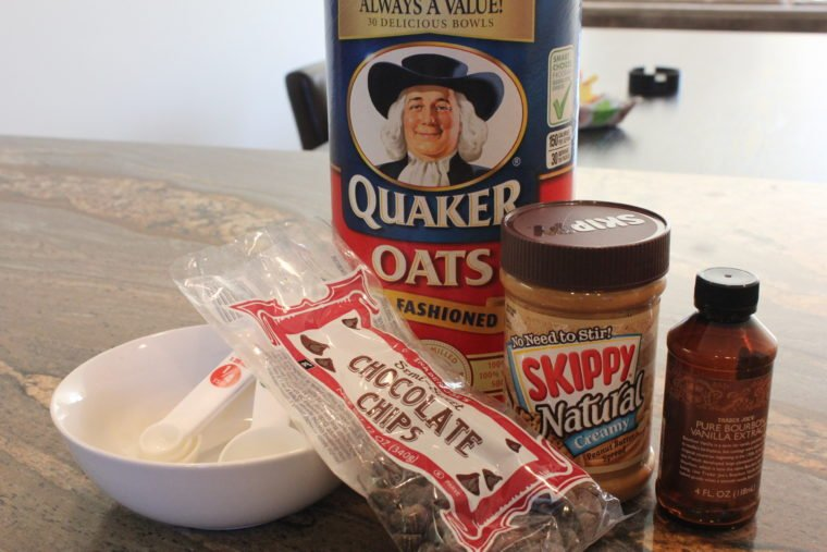 Ingredients for Microwave Chocolate Peanut Butter & Oat Snack Bars