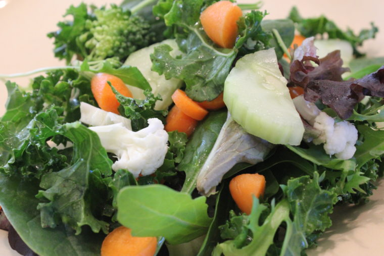 Green salad with Vegan Slaw Dressing