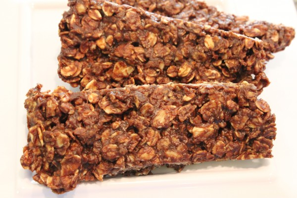 Three Chocolate Peanut Butter and Oat Snack Bars