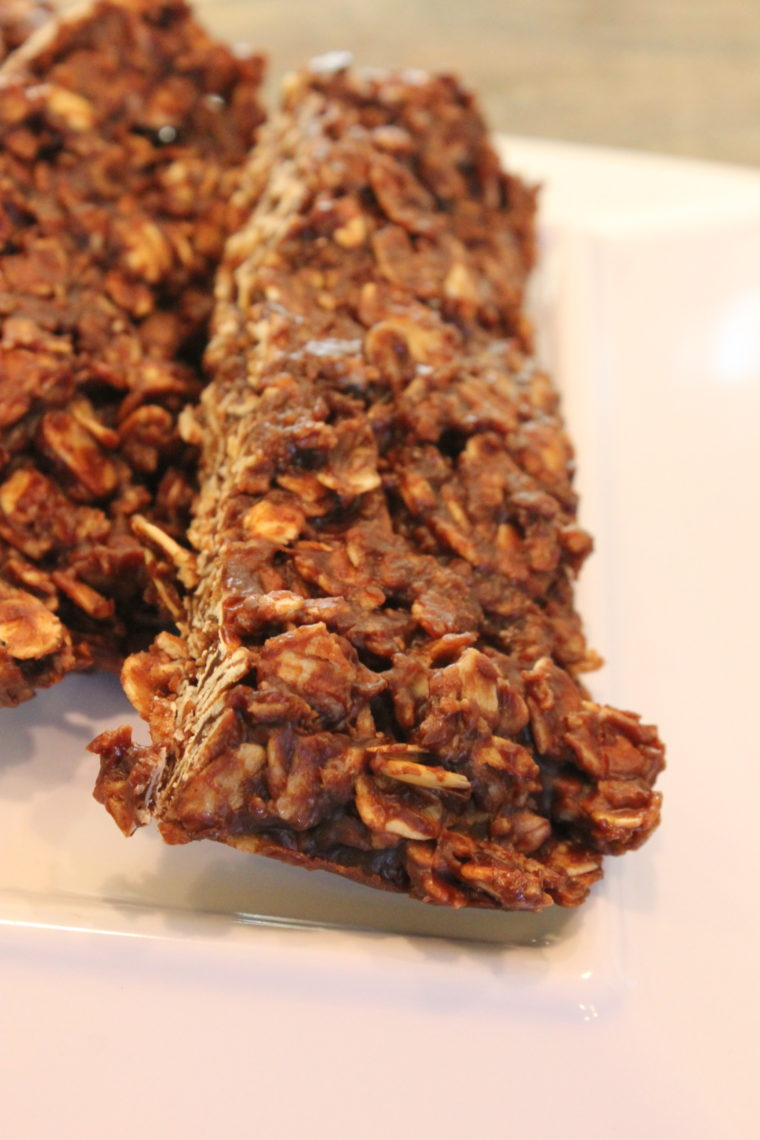 Close up of cut Microwave Chocolate Peanut Butter & Oat Snack Bars