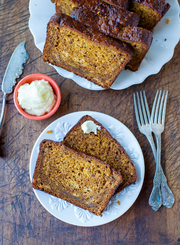 Pumpkin Banana Bread with Browned Butter Cream Cheese Frosting sliced
