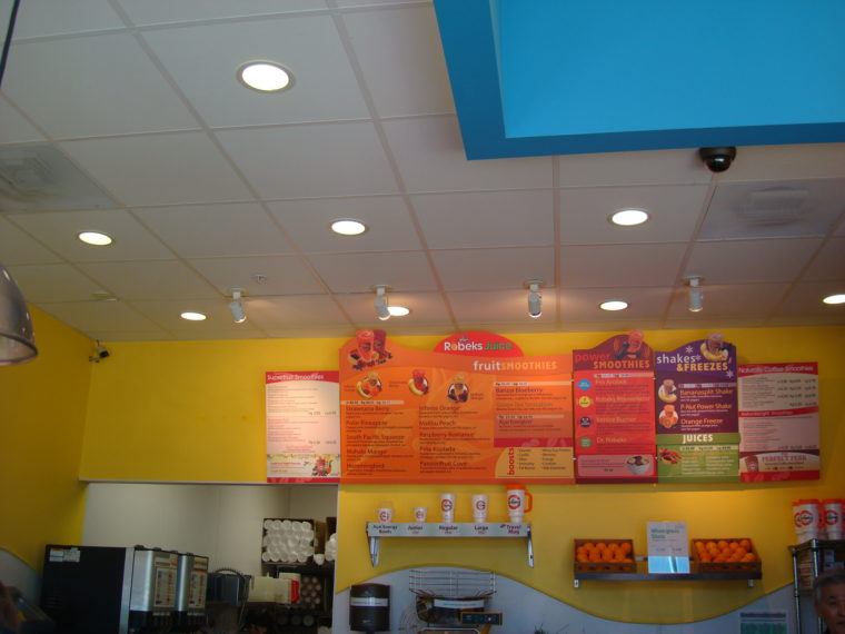 Inside juice and smoothie bar