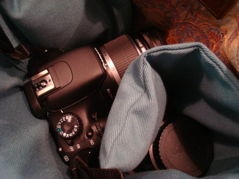 DSLR and lens in camera bag