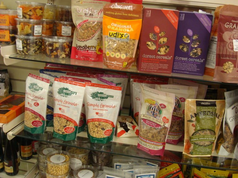 Shelves of discounted food products