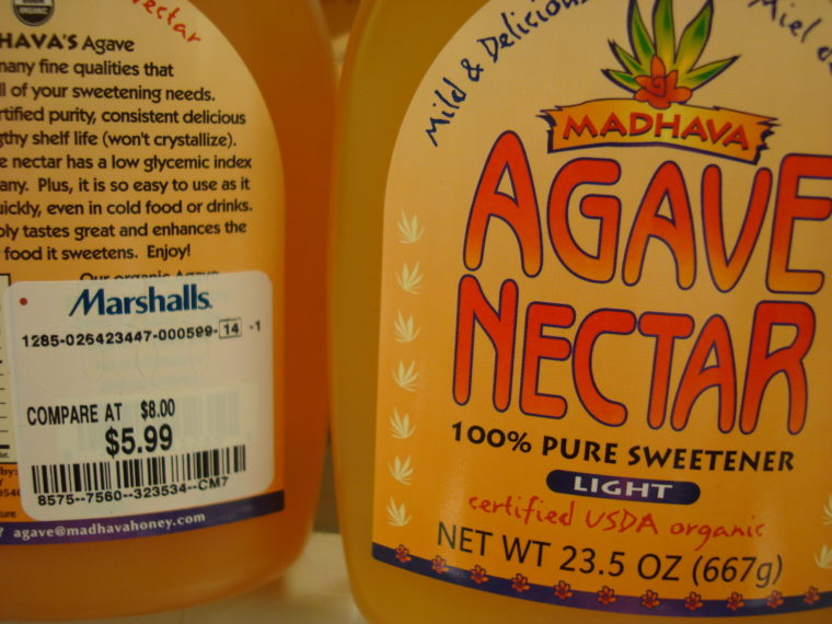 Close up of Agave Nectar bottles