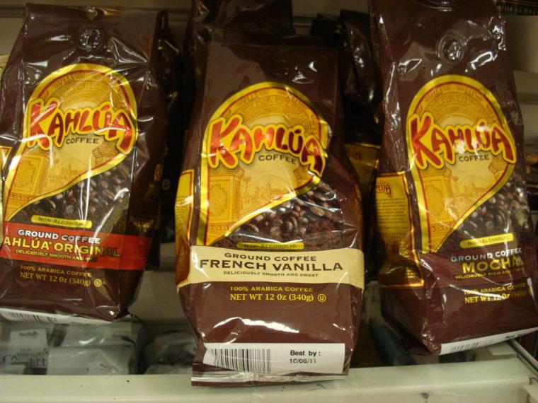 Various Kahlua Coffees on shelf