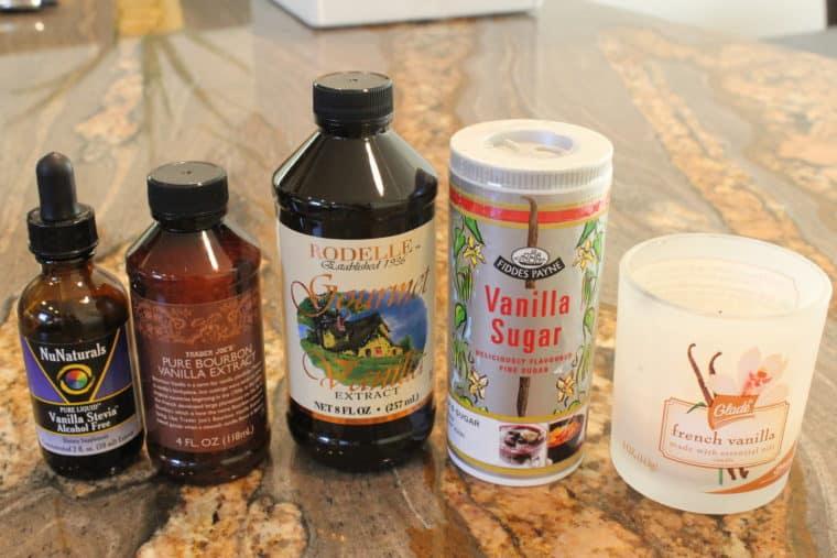 Various vanilla products on countertop
