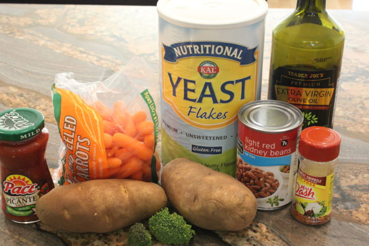 Ingredients needed to make Salsa & Cheezey Baked Beans & Vegetables