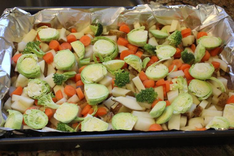 Vegetables on foil lined pan