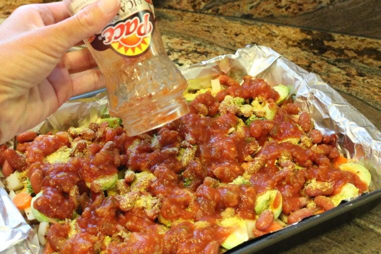 Salsa & Cheezy Baked Beans & Vegetables