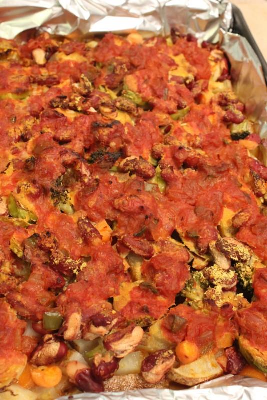 Salsa & Cheezey Baked Beans & Vegetables
