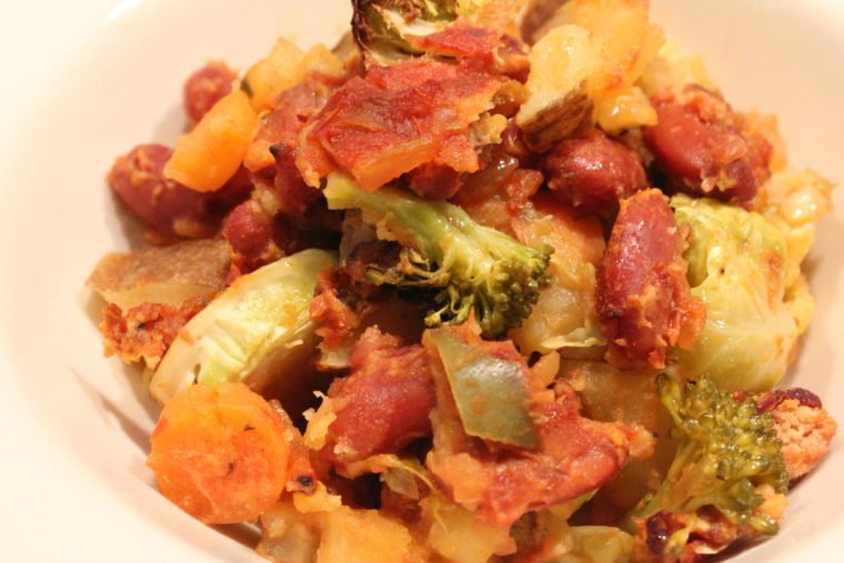 Close up of Salsa & Cheezey Baked Beans & Vegetables in white dish