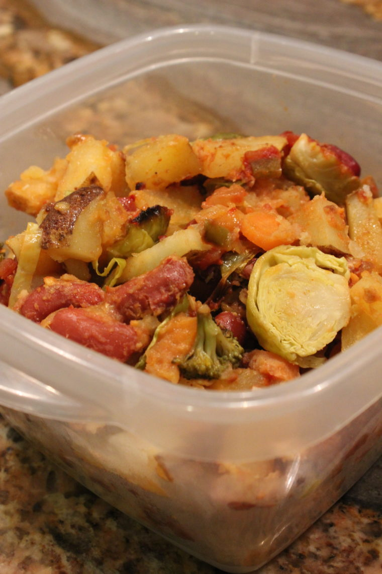 Leftovers put in clear container