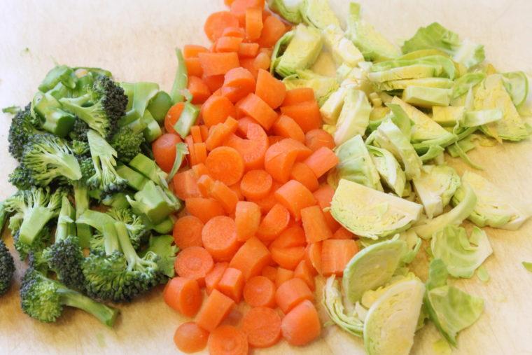 Diced up vegetables