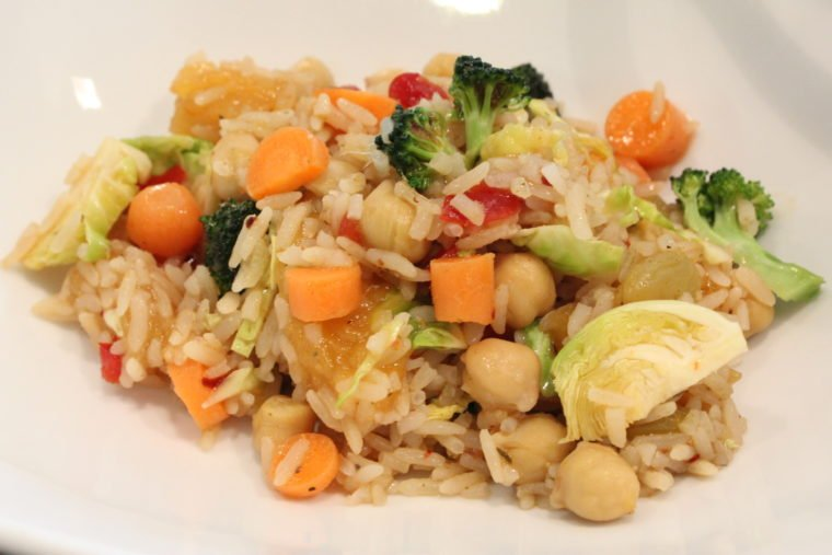 Close up of Mango & Balsamic Rice, Beans, & Mixed Vegetables in white dish