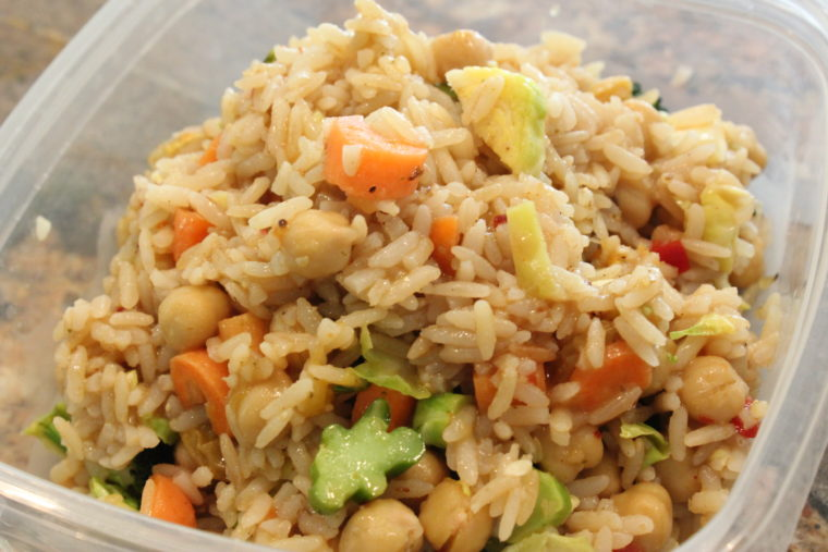 Leftover Mango & Balsamic Rice, Beans, & Mixed Vegetables in clear container