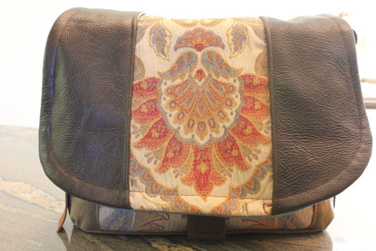 Camera Bag with colorful design down middle