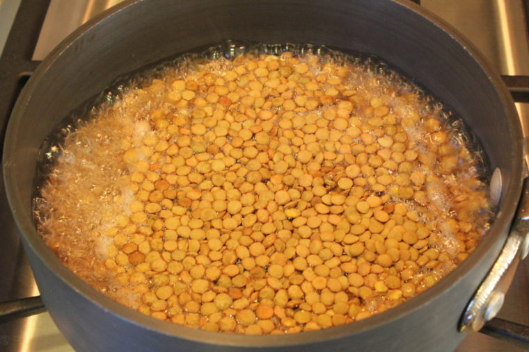 Lentils in pot of water