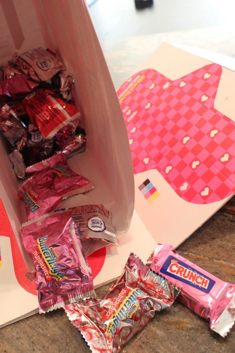 Inside box of various candies