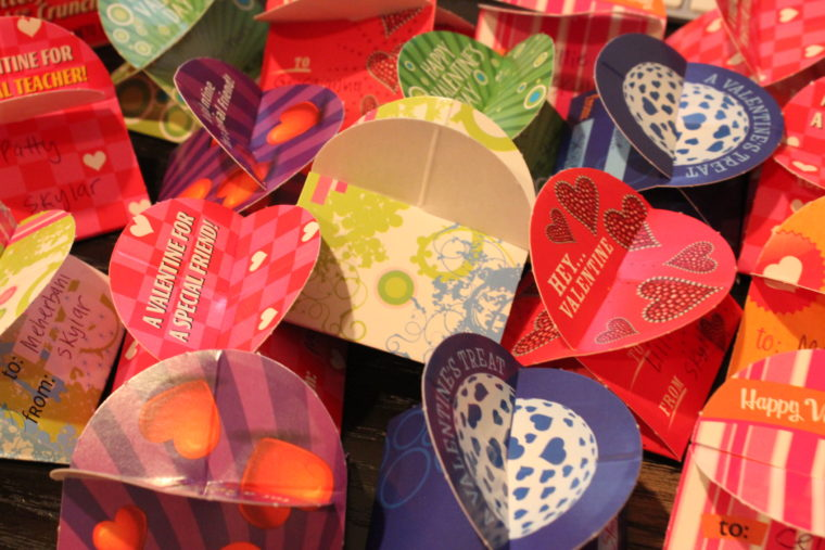 Close up of finished Valentines