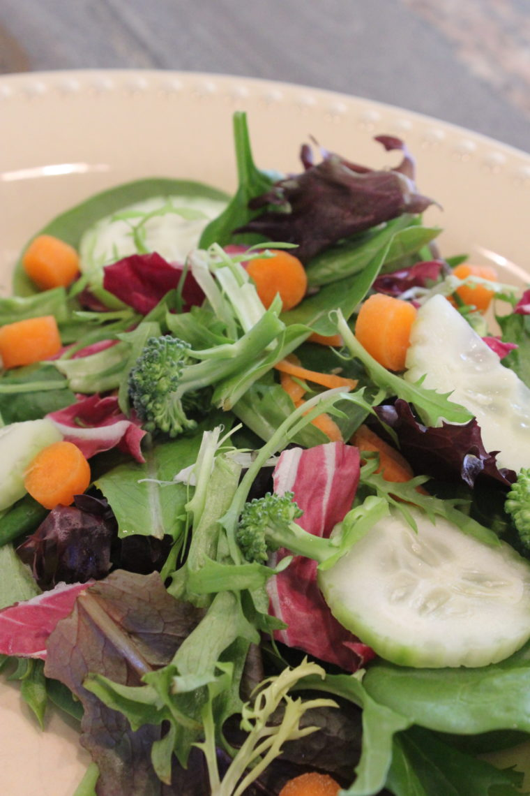 Close up of green salad with mixed vegetables