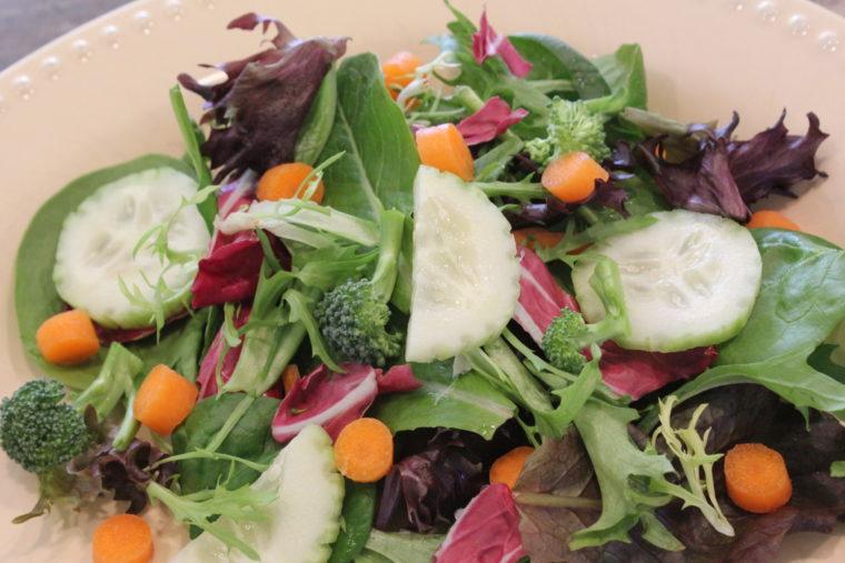 """Salad with Creamy Vegan """"Cesar"""" Tahini Dressing"""