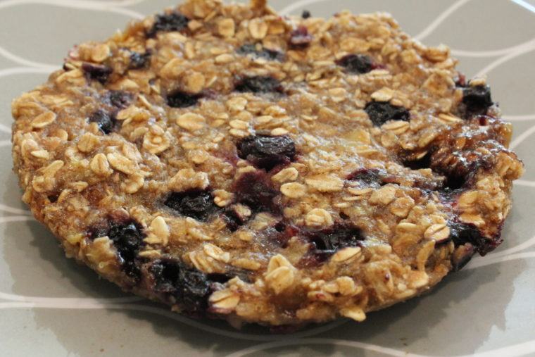 Finished Microwave Blueberry Banana Oat Cake on plate