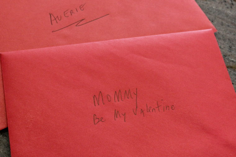Close up of Card addressed as Mommy Be My Valentine