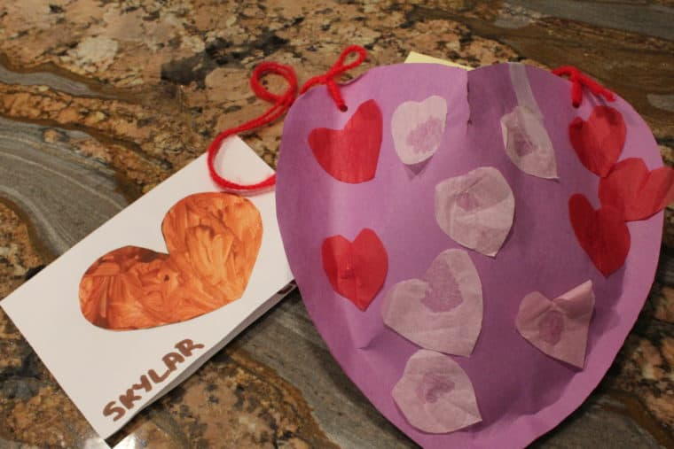 Valentines crafts made at school by young girl