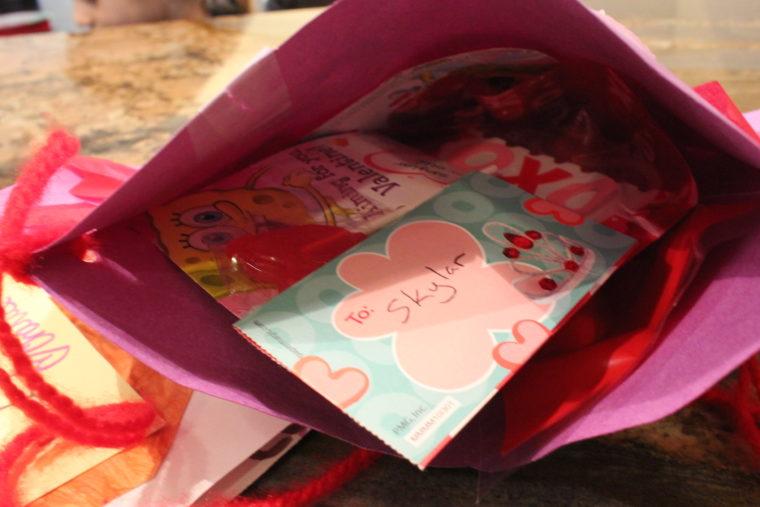 Inside Valentines homemade purse