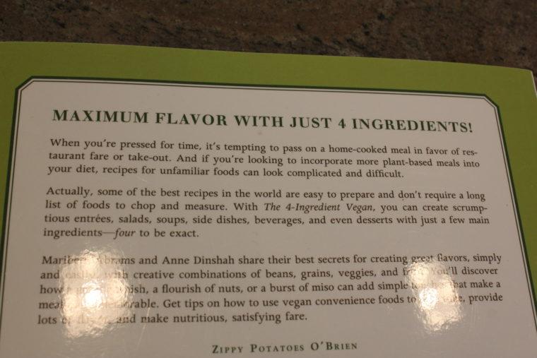 Backside of The 4 Ingredient Vegan book