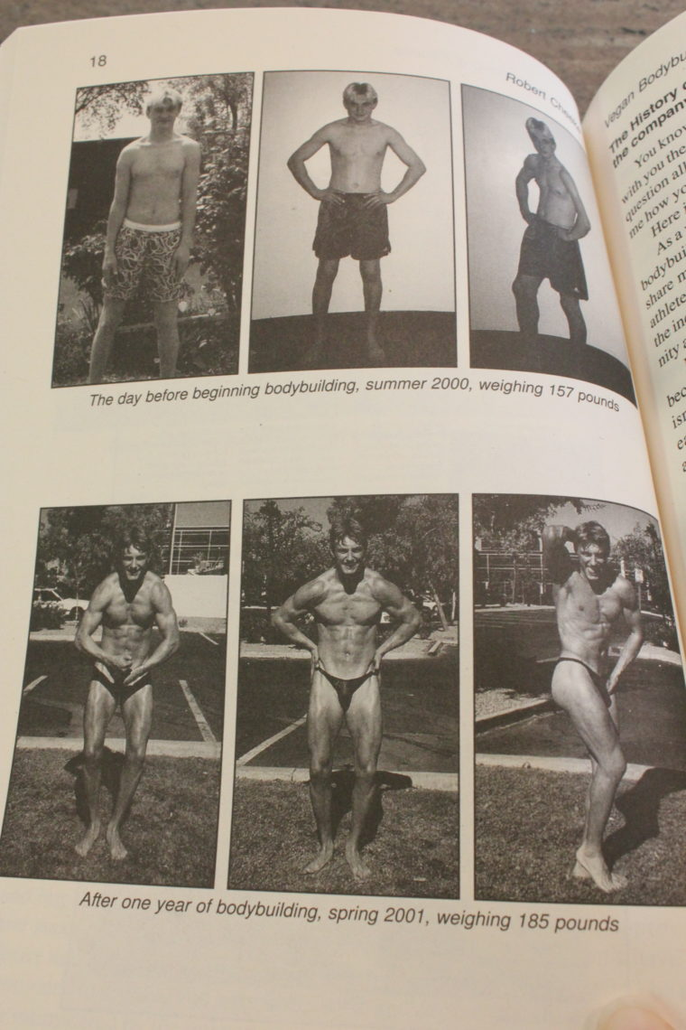 Page in book showing transformation of one mans body