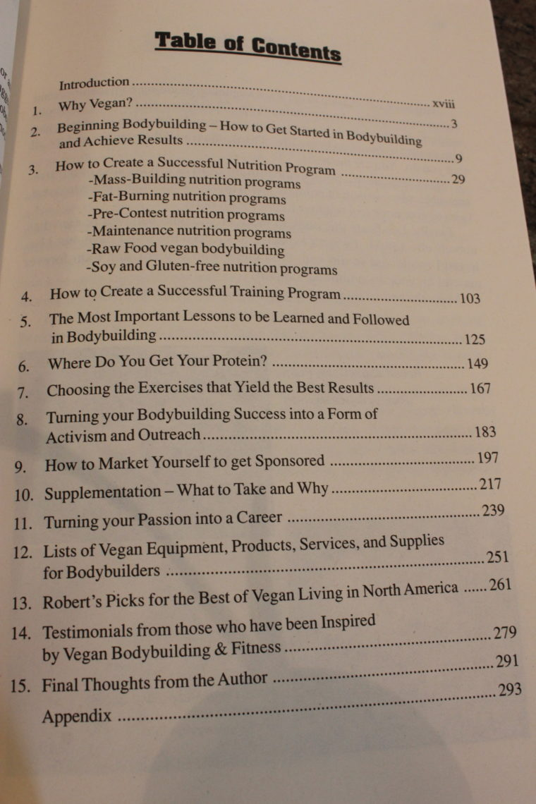 Table of contents inside book