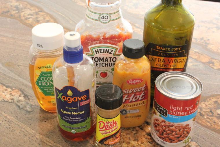 Ingredients needed to make Ketchup & Mustard Lover's Protein & Veggie Mash