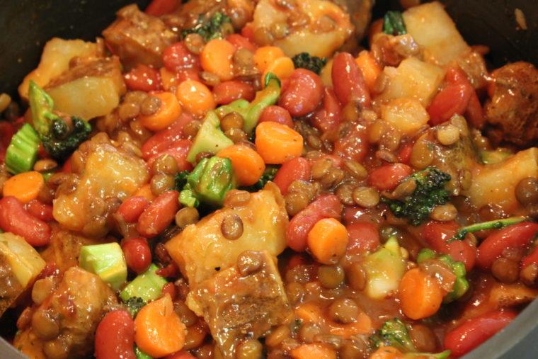 Ketchup & Mustard Lover's Protein & Veggie Mash stirred up in pot