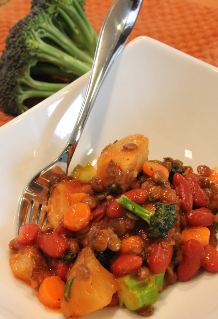 Ketchup & Mustard Lover's Protein & Veggie Mash in bowl with spoon