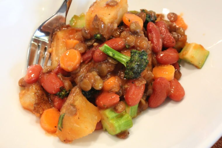 Ketchup & Mustard Lover's Protein & Veggie Mash in dish with fork
