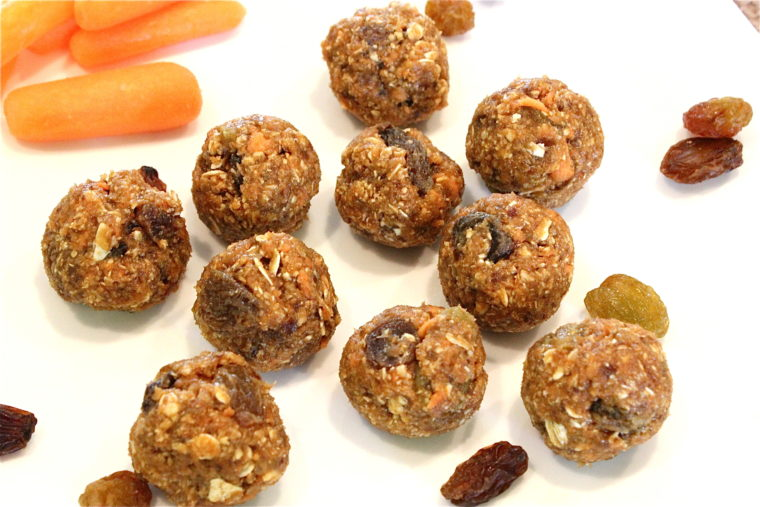 Finished No-Bake Oatmeal Raisin Carrot Cake Bites