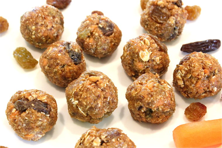 Overhead of No-Bake Oatmeal Raisin Carrot Cake Bites