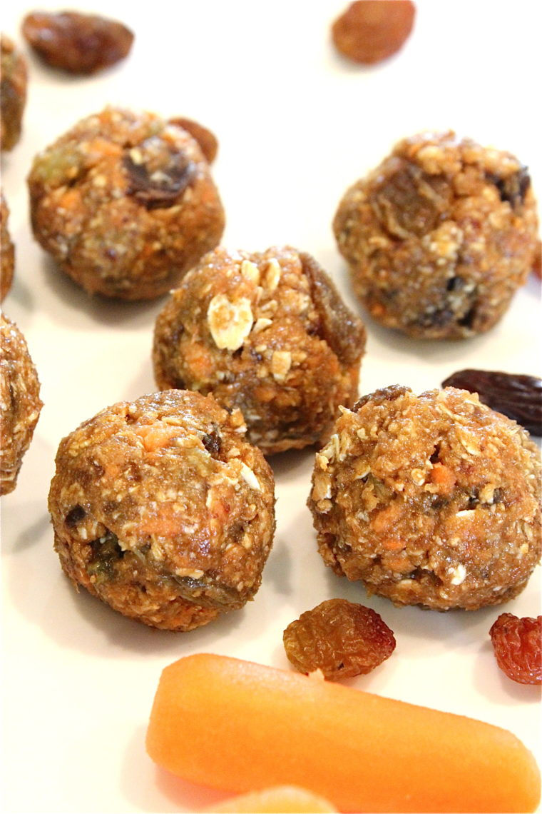 Close up of No-Bake Oatmeal Raisin Carrot Cake Bites