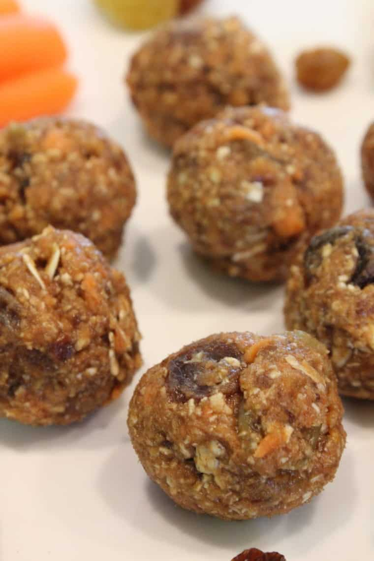 No Bake Oatmeal Raisin Carrot Cake Bites on white dish