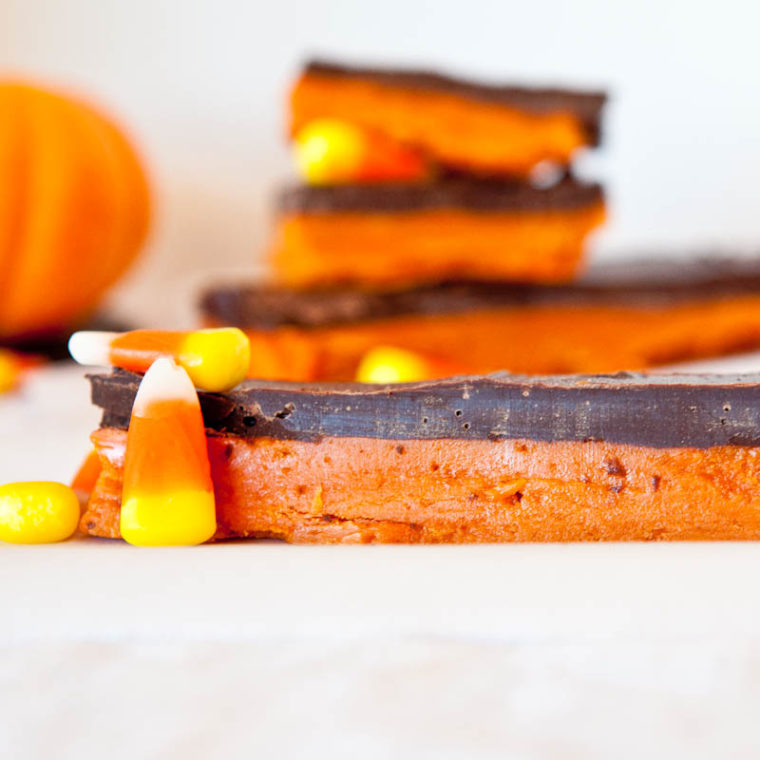 orange Butterfinger Bars with candy corn